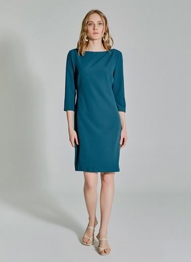 People By Fabrika Kemerli Kayık Yaka Elbise Yeşil